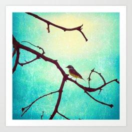 The Bird (Textured blue sky and little bird in a branch tree) Art Print