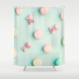 Macarons, macaroons & bears, sweets, candies, pop art Shower Curtain
