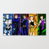 teen titans Canvas Prints featuring 1D Titans by allthreeplease