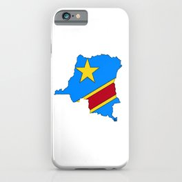 Democratic Republic of the Congo Map with Congolese Flag iPhone Case