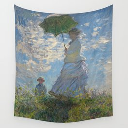 The Walk, Woman with a Parasol by Claude Monet Wall Tapestry