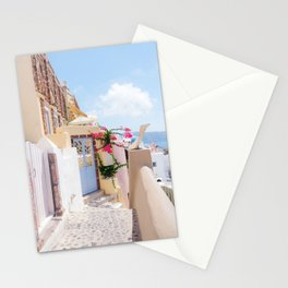 Charming Narrow Lane on Oia Santorini Greece Stationery Cards