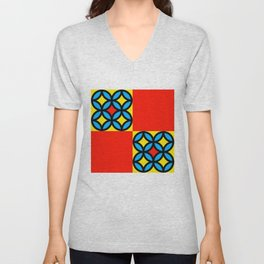 Colored Circles Red Squares Unisex V-Neck