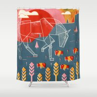 plain Shower Curtains featuring The White Horse Plain by Robert John Paterson