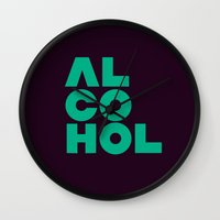 alcohol Wall Clocks featuring Alcohol by Bálint Magyar