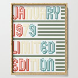 January Cool Vintage Retro Birthday Gift For Your Wife And Husband For Their 40th Birthday Natal Day Serving Tray