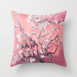 Van Gogh Almond Blossoms : Peachy Pink Throw Pillow