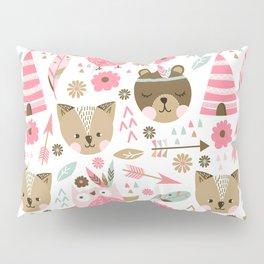 Pink Boho Animals Pillow Sham
