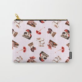 Vintage Mushrooms in Red + Petal Pink Carry-All Pouch