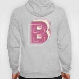 5 Layers Retro Drop Cap B - Pink Hand Drawn Monogram Letter Hoody