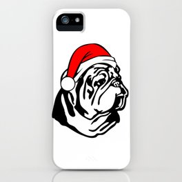 Bulldog with Christmas Santa Hat iPhone Case