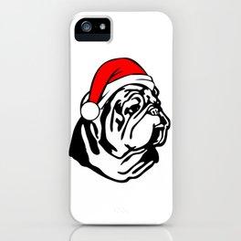 Bulldog with Christmas Santa Hat iPhone Case