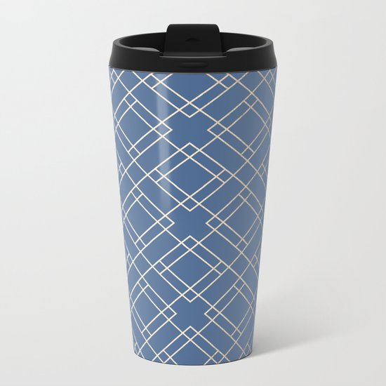 Simply Mid-Century in White Gold Sands on Aegean Blue Metal Travel Mug