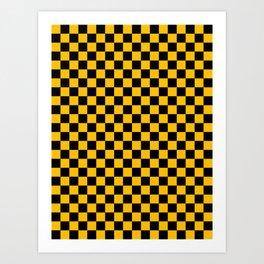 Black and Amber Orange Checkerboard Art Print