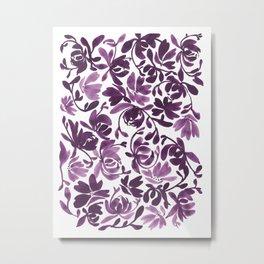 Purple Peonies and Poppies Metal Print