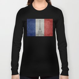 Eiffel tower with French flag Long Sleeve T-shirt