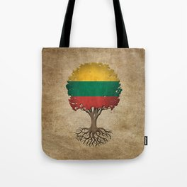 Vintage Tree of Life with Flag of Lithuania Tote Bag