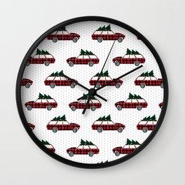 Christmas station wagon estate car holiday winter vacation vintage cars Wall Clock