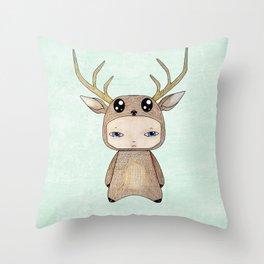 A Boy - Red Deer Throw Pillow