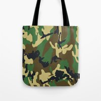 military Tote Bags featuring Military - Camouflage by Three of the Possessed
