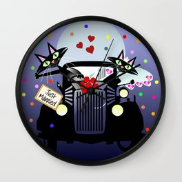 Cute just married cats in a vintage car Wall Clock