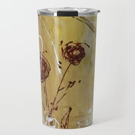 Yellow Tan Spring Abstract Flowers. Jodilynpaintings. Abstract Floral Travel Mug