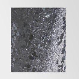 Black and Gray Glitter Bomb Throw Blanket