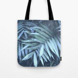 blue palm leaves Tote Bag