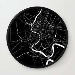 Bangkok Thailand Minimal Street Map - Midnight Black and White Wall Clock