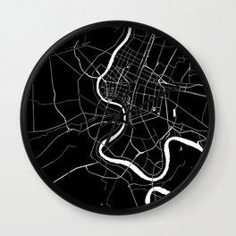 Bangkok Thailand Minimal Street Map - Midnight Black and White Wall Clock