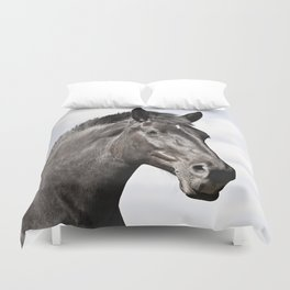 Black Horse Photograph in Color Duvet Cover