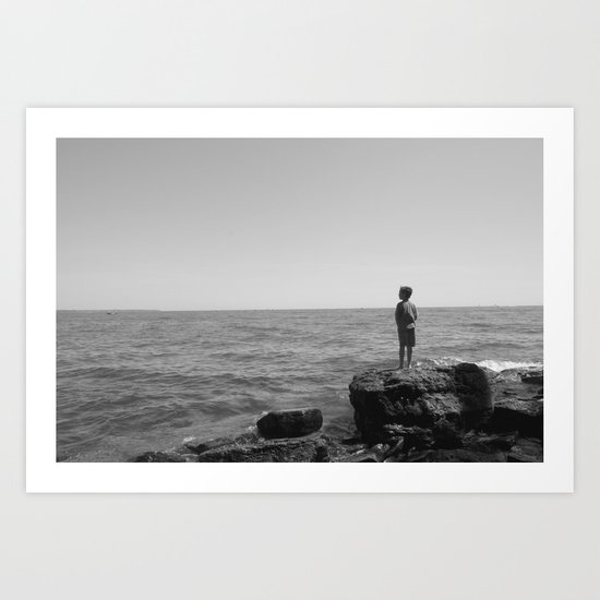 On the horizon BW Art Print