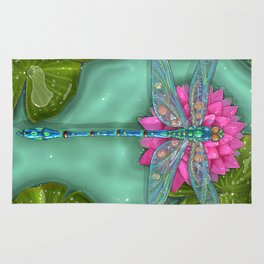 Dragonfly and Water Lily Rug