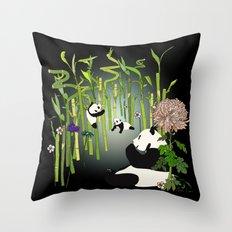 Panda's Playground - Dark Version Throw Pillow
