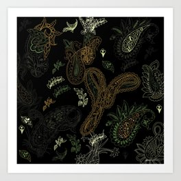 Cactus Garden Paisley 1 Art Print