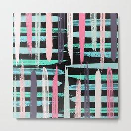 Modern Artsy Pink Girly Brushstroke Stripes Black Metal Print