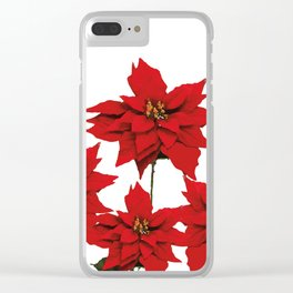 Red Poinsettia flower Clear iPhone Case