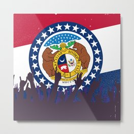 Missouri State Flag with Audience Metal Print