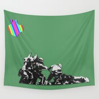 banksy Wall Tapestries featuring Banksy style by veronica ∨∧