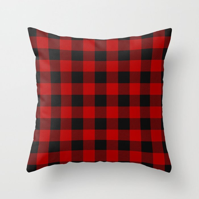 Red and black squares plaid print Throw Pillow