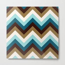 Funky Zigzag Pattern Teals Brown Gold Cream Metal Print