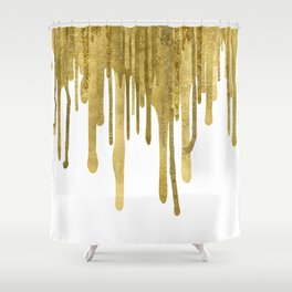 Gold paint drips Shower Curtain