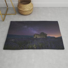 Stars France Valensole Nature Sky Ruins Fields Lavandula Night lavender night time Rug