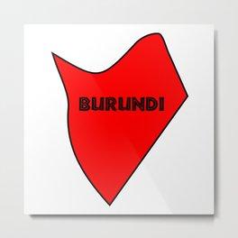 Burundi Silhouette Map Metal Print