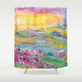 Sunset in the mountains. Watercolor painting Shower Curtain