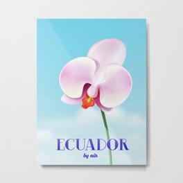 Ecuador Orchid travel poster print, Metal Print
