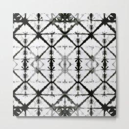 B&W Shibori Grid Metal Print