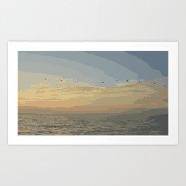 Shore Bird Silhouette Sunset  Art Print