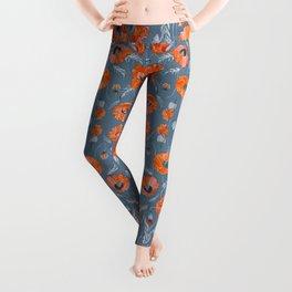 Red poppies in grey Leggings