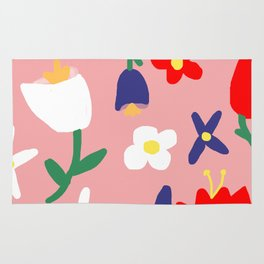 Large Handdrawn Bacchanal Floral Pop Art Print Rug